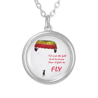 Just to know how it feels to fly silver plated necklace
