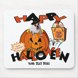 Just Too Cute Bulldog, Peeking Out of Pumpkin Mouse Pad