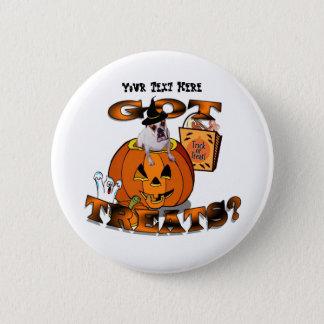 Just Too Cute Bulldog, Peeking Out of Pumpkin Pinback Button