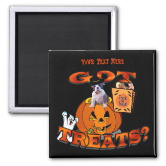 Just Too Cute Bulldog Puppy Peeking Out of Pumpkin 2 Inch Square Magnet
