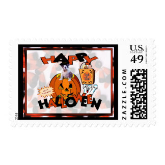 Just Too Cute Bulldog Puppy Peeking Out of Pumpkin Postage