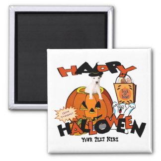 Just Too Cute Jack Russell Peeking Out of Pumpkin 2 Inch Square Magnet