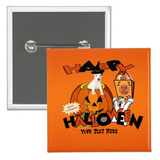 Just Too Cute Jack Russell Peeking Out of Pumpkin 2 Inch Square Button