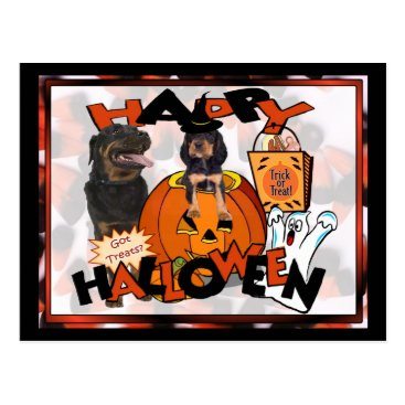 Halloween Themed Just Too Cute Rottweiler Puppy Accompanied by Papa Postcard