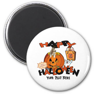 Just Too Cute Westie Puppy, Peeking Out of Pumpkin 2 Inch Round Magnet