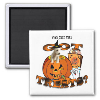Just Too Cute Westie Puppy, Peeking Out of Pumpkin 2 Inch Square Magnet