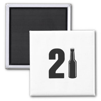 Just Turned 21 Beer Bottle 21st Birthday 2 Inch Square Magnet