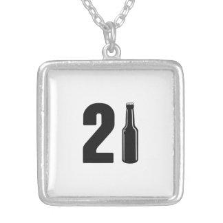 Just Turned 21 Beer Bottle 21st Birthday Silver Plated Necklace
