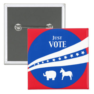 Just Vote Red White Blue Stars Donkey Elephant Pinback Button