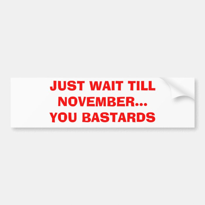 JUST WAIT TILL NOVEMBER...YOU BASTARDS BUMPER STICKER