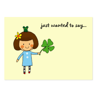 just wanted to say... (good luck, clover) large business card