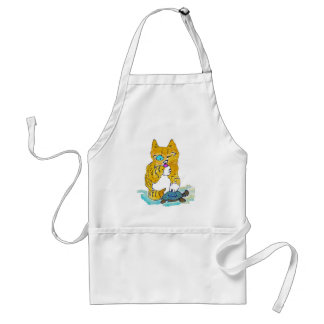Just Washing my Paw, says Tommy kitten Adult Apron