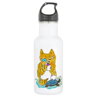 Just Washing my Paw, says Tommy kitten Water Bottle