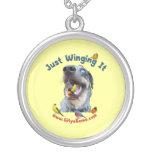 Just Winging It Bird Dog Round Pendant Necklace