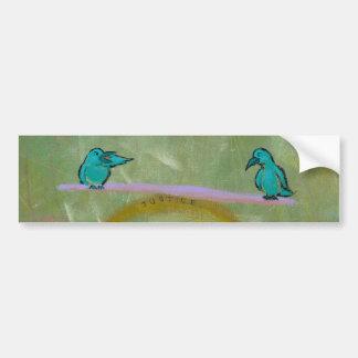 Justice birds delicate balance fun unique art bumper sticker