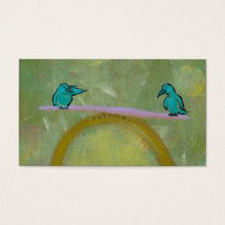 Justice birds delicate balance fun unique art business card
