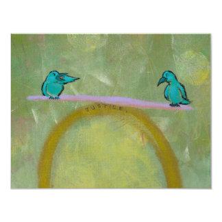 Justice birds delicate balance fun unique art card