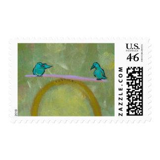 Justice birds delicate balance fun unique art postage stamp