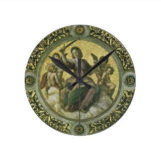 Justice by Raphael, Vintage Renaissance Art Round Clock
