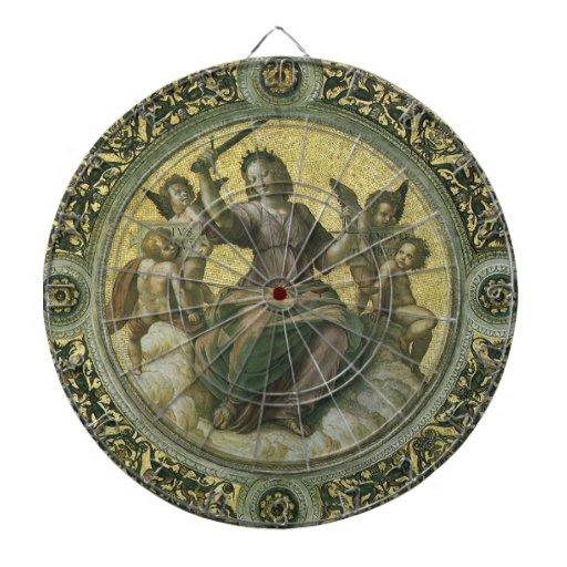 Justice by Raphael, Vintage Renaissance Art Dartboard With Darts