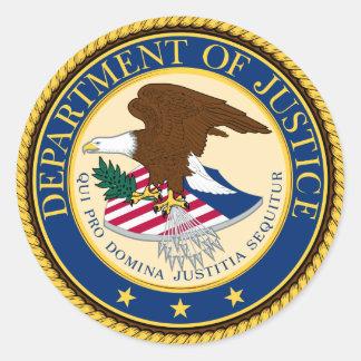 Justice Department Classic Round Sticker
