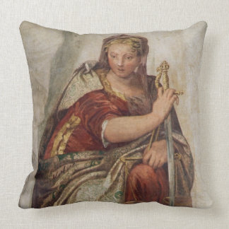 Justice, from the walls of the sacristy (fresco) throw pillows