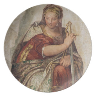 Justice, from the walls of the sacristy (fresco) dinner plate