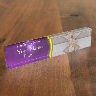 JUSTICE,GOLD SCALES OF LAW,ATTORNEY Purple Grey Name Plate