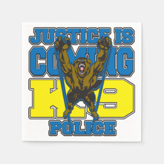 Justice is Coming K9 Police Standard Cocktail Napkin