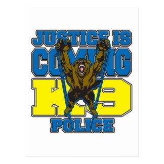 Justice is Coming K9 Police Postcard