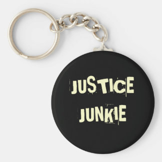 Justice Junkie - Funny Lawyer Name Basic Round Button Keychain