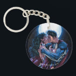 """Justice League #12 Wonder Woman &amp; Superman Kiss Keychain<br><div class=""""desc"""">Customize your product featuring the beloved page 28 out of the comic book Justice League Issue #12. Wonder Woman and Superman kiss under the moon and stars!</div>"""