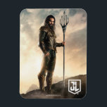 "Justice League | Aquaman On Battlefield Magnet<br><div class=""desc"">Check out Justice League&#39;s Aquaman standing on a mist filled,  rocky terrain. Aquaman holds his trident at the ready,  fist clenched,  while the sun dawns behind him causing the mist and clouds to glow bright.</div>"