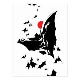 Justice League | Batman in Cloud of Bats Pop Art Postcard