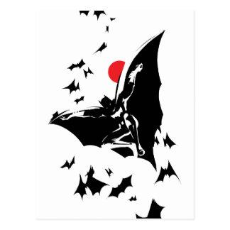 Justice League   Batman in Cloud of Bats Pop Art Postcard