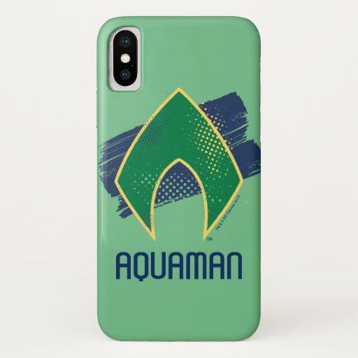Justice League | Brush & Halftone Aquaman Symbol iPhone X Case