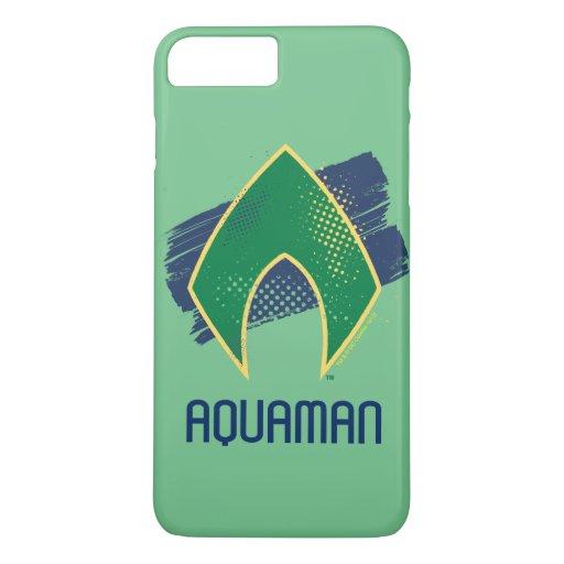 Justice League | Brush & Halftone Aquaman Symbol iPhone 8 Plus/7 Plus Case