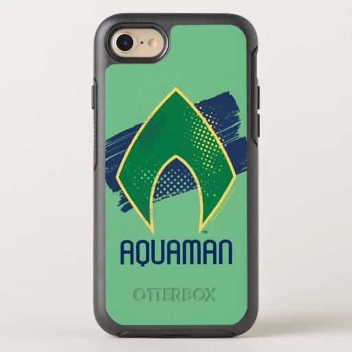 Justice League | Brush & Halftone Aquaman Symbol OtterBox Symmetry iPhone SE/8/7 Case