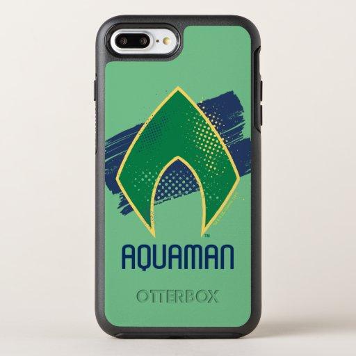 Justice League | Brush & Halftone Aquaman Symbol OtterBox Symmetry iPhone 8 Plus/7 Plus Case
