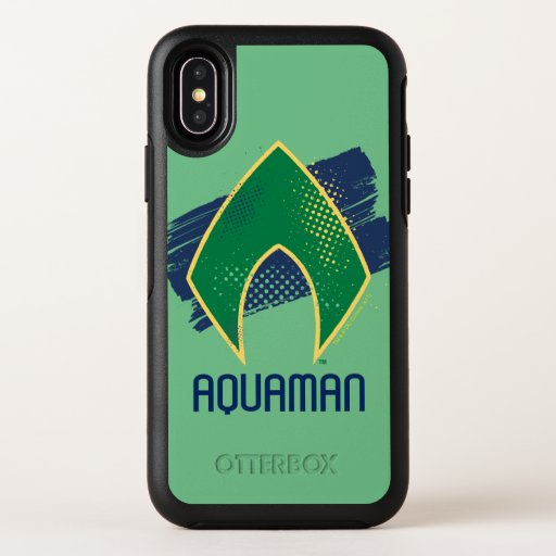 Justice League | Brush & Halftone Aquaman Symbol OtterBox Symmetry iPhone X Case
