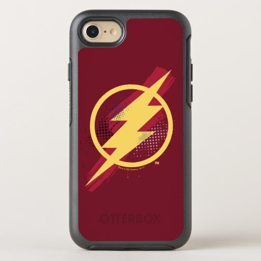 Justice League | Brush & Halftone Flash Symbol OtterBox Symmetry iPhone 8/7 Case