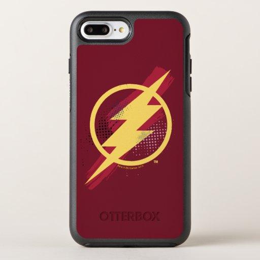 Justice League | Brush & Halftone Flash Symbol OtterBox Symmetry iPhone 8 Plus/7 Plus Case