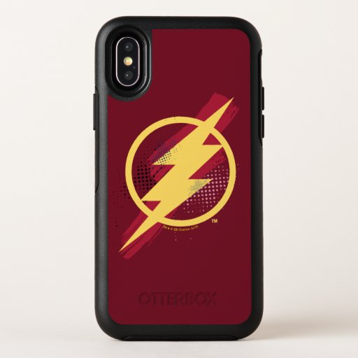 Justice League | Brush & Halftone Flash Symbol OtterBox Symmetry iPhone X Case