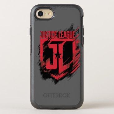 Justice League   Brushed Paint JL Shield OtterBox Symmetry iPhone 8/7 Case
