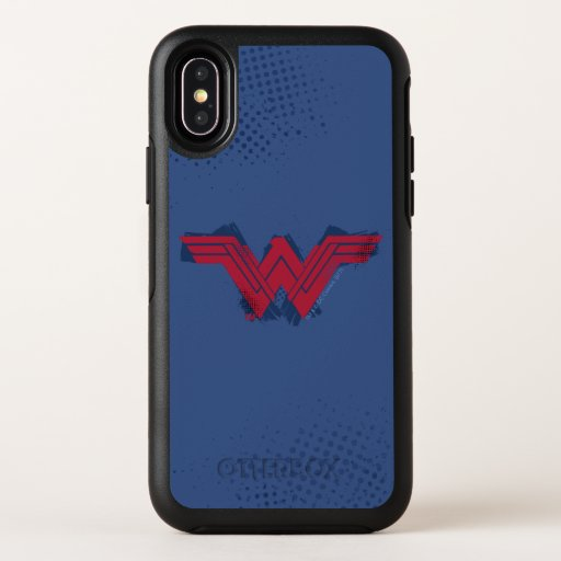 Justice League | Brushed Wonder Woman Symbol OtterBox Symmetry iPhone X Case