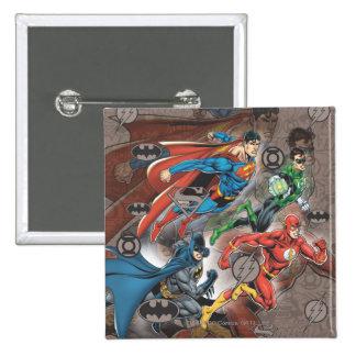 Justice League Collage Pinback Button