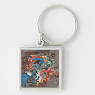 Justice League Collage Silver-Colored Square Keychain