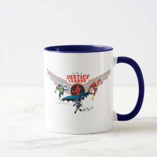 Justice League Flying Air Badge and Heroes Mug