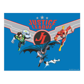 Justice League Flying Air Badge and Heroes Postcard