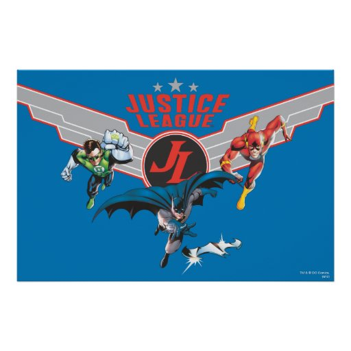 Justice League Flying Air Badge and Heroes Print